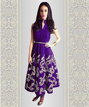 NEW PURPLE EMBROIDERED DESIGNER KURTIS @ Rs1173.00