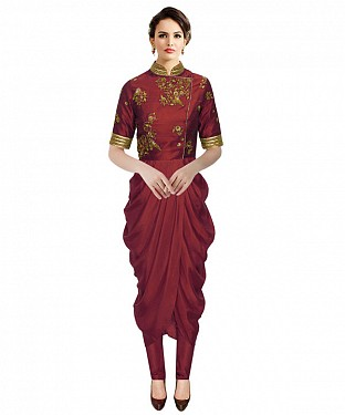 New Maroon Colour Embroidered Designer Kurtis @ Rs1112.00