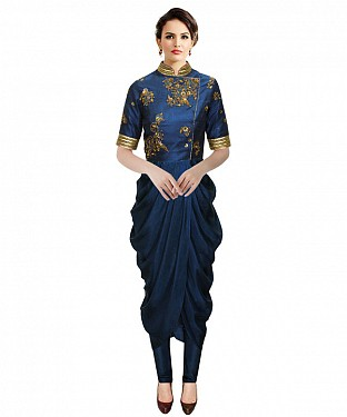 New Nevy Blue Colour Embroidered Designer Kurtis @ Rs1112.00