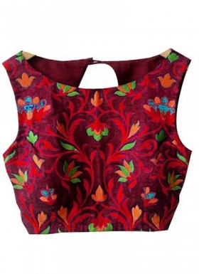 New Latest Maroon Embroidred Designer Unstitched Blouse@ Rs.617.00