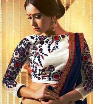 Latest White Beautiful Embroidered Designer Unstitched Blouse@ Rs.864.00
