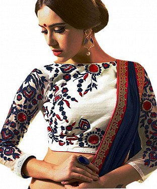 Latest White Beautiful Embroidered Designer Unstitched Blouse@ Rs.803.00