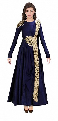 New Blue Floor Touch Embroidered Designer Gown@ Rs.1359.00