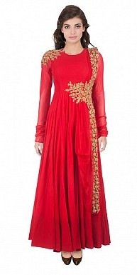 Designer Red Floor Touch Gown @ Rs1235.00