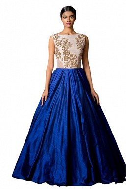 New White & Blue Colour Floor Touch Semi Stitched Designer Gown @ Rs1606.00