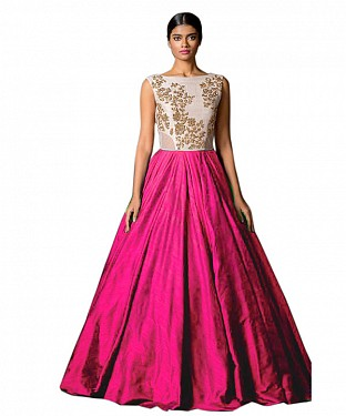 New White & Pink Colour Floor Touch Semi Stitched Designer Gown @ Rs1360.00