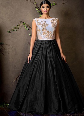 New White & Black Colour Floor Touch Semi Stitched Designer Gown@ Rs.1360.00