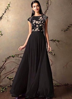 New Designer Black Colour Semi - Stitched GownO @ Rs1853.00