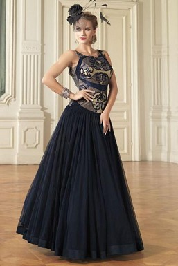 New Nevy Blue Colour Floor Touch Semi Stitched Designer Gown @ Rs1235.00