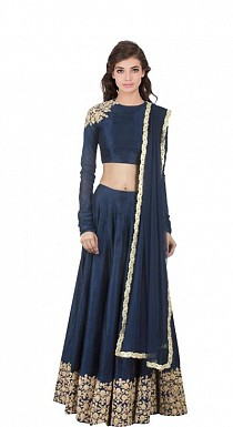 Latest Nevy Blue Beautiful Designer Semi Stitched Lahenga Choli @ Rs1482.00