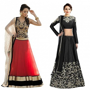 Latest Black & Red Designer combo Lahnga Choli @ Rs1482.00