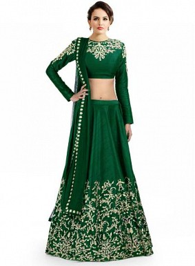 Latest Green Colour Beautiful Designer Lehenga Choli @ Rs988.00