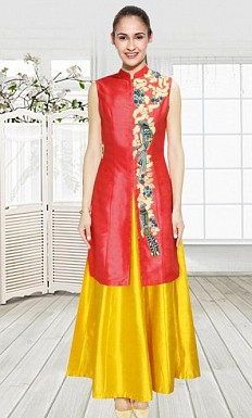 Coral Bird Thread Embroidered Jacket Kurta With Yellow Skirt Semi Stitched Lehenga @ Rs1482.00