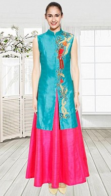 Turquoise Bird Embroidered Long Achkan Jacket With Pink Skirt Lehenga@ Rs.1482.00