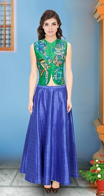 Coral Bird Thread Embroidered Parrot Jacket Kurta With Blue Skirt Semi Stitched Lehenga @ Rs1482.00