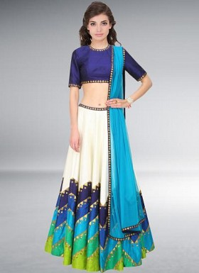 Navratri Special White And Sky Blue Semi Stitched Lehenga Choli@ Rs.3089.00