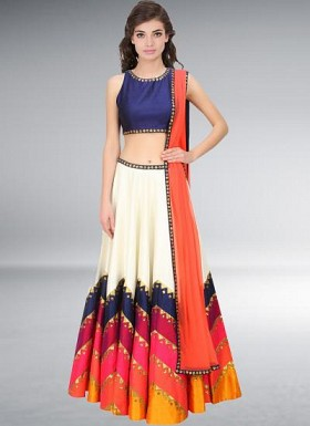 Navratri Special White And Orange Semi Stitched Lehenga Choli @ Rs3089.00