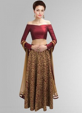 Special Maroon Faux Georgette Embroidery Lehenga Choli Buy Rs.3707.00