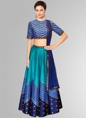 Navratri Special Blue Color Designer Semi Stitched Lehenga Choli@ Rs.3089.00