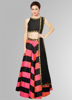 New Colourfull & Attractive For Special Navratri Raw Silk Lahenga Choli @ Rs1853.00