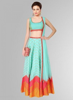 Allover Sky Blue Leheriya Style Lehenga For Women@ Rs.2966.00
