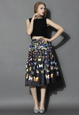 New Black Crepe Printed Designer Party Wear Skirt @ Rs1235.00