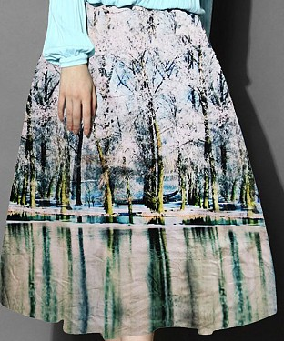 White & Sky Blue Colour Printed Womens Skirt@ Rs.988.00