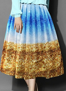 Sky Blue& Brown Colour Printed Womens Skirt@ Rs.988.00