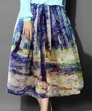 Purple Colour Printed Womens Skirt @ Rs988.00