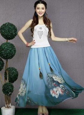 Blue Colour Digital Printed Womens Skirt@ Rs.1235.00
