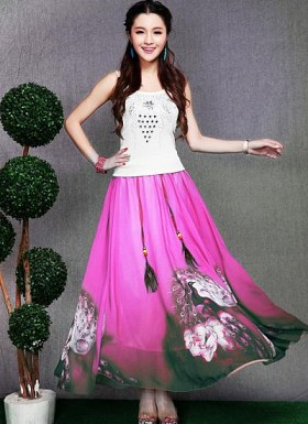 Pink Colour Digital Printed Womens Skirt @ Rs1235.00