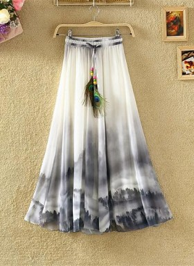 White & Black Colour Digital Printed Womens Skirt @ Rs1235.00