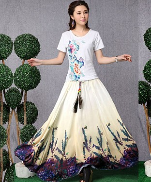 White & Purple Colour Digital Printed Womens Skirt@ Rs.1175.00