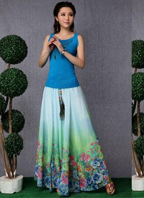 new latest Sky Blue designer printed skirts @ Rs1235.00