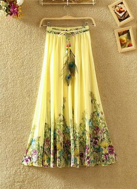 new latest  Yellow designer printed skirts@ Rs.1235.00