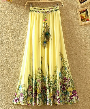 Yellow Colour Faux Georgette Womens Skirt@ Rs.1235.00
