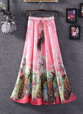 Pink Colour Faux Georgette Women's Skirt@ Rs.1235.00