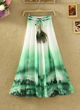 new latest Green & White designer printed skirts Buy Rs.1235.00