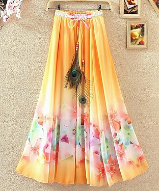 New Latest Orange & Pink Colour Faux Georgette Womens Skirt @ Rs1235.00