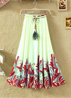 new latest White & Red designer printed skirts@ Rs.1235.00