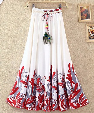 Fancy White & Red Colour Faux Georgette Womens Skirt@ Rs.1113.00