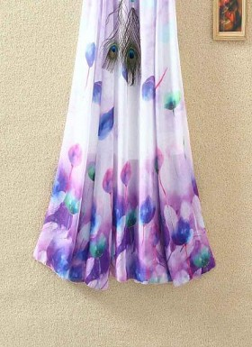 new latest  White & Purple designer printed skirts@ Rs.1235.00