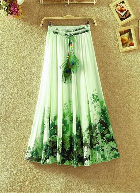 Green Colour Digital Printed Women's Fancy Skirt@ Rs.1235.00