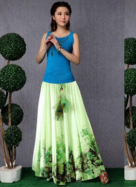 new latest Green designer printed skirts@ Rs.1235.00
