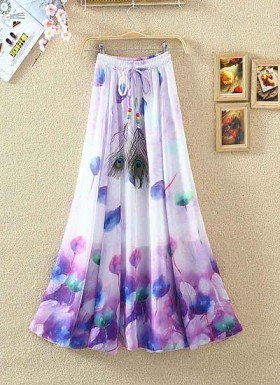 New White & Purple Colour Digital Printed Women's Fancy Skirt@ Rs.1235.00