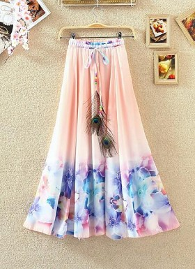 Peach Colour Digital Printed Women's Fancy Skirt @ Rs1235.00