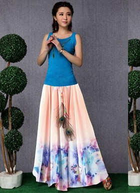 new latest Peach designer printed skirts @ Rs1235.00