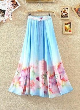 Sky Blue Colour Digital Printed Women's Designer Skirt@ Rs.1175.00