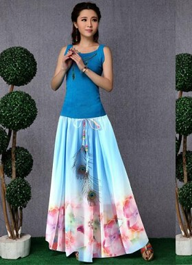 new latest Sky Blue  designer printed skirts Buy Rs.1235.00