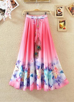 New Latest Pink Colour Digital Printed Women's Fancy Skirt @ Rs1235.00